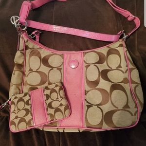 Pink & brown Coach purse and wristlet set